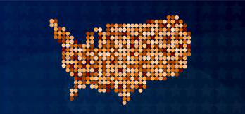 Map of America made with colored circles of varying skin tones