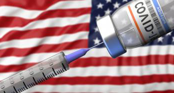 Covid-19 vaccine with American flag